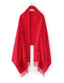Fashion Red Bead Decorated Scarf