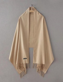 Fashion Beige Pure Color Decorated Scarf