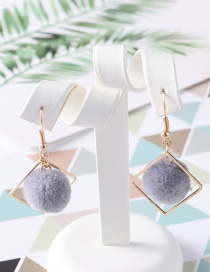 Fashion Gray Pom Ball Shape Decorated Earrings