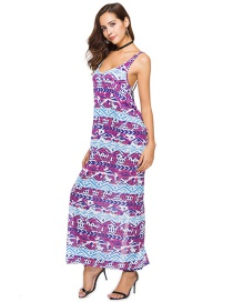 Fashion Purple Stripe Pattern Decorated Dress