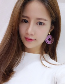 Fashion Pink Flower Decorated Hollow Out Earrings