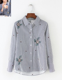 Fashion Blue+white Stripe Pattern Decorated Embroidery Shirt