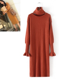 Fashion Brown Pure Color Decorated Knitting Long Dress