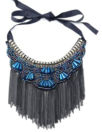 Vintage Sapphire Blue Long Tassel Decorated Simple Necklace