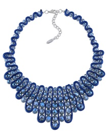 Vintage Sapphire Blue Oval Shape Diamond Decorated Hand-woven Necklace