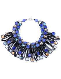 Vintage Sapphire Blue Geometric Shape Diamond Decorated Necklace