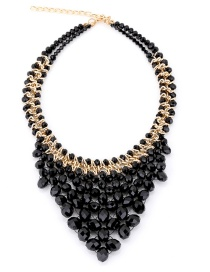 Vintage Black V Shape Design Pure Color Necklace