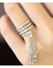 Vintage Silver Color Full Diamond Decorated Opening Tassel Ring