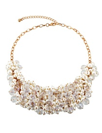 Vintage Gold Color Pearls&diamond Decorated Necklace