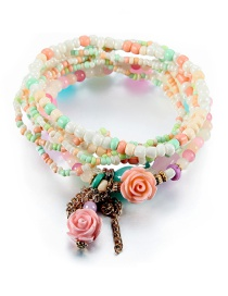 Vintage Multi-color Flower&tassel Decorated Multi-layer Beads Bracelet