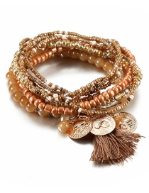 Vintage Coffee Coins&tassel Decorated Multi-layer Beads Bracelet