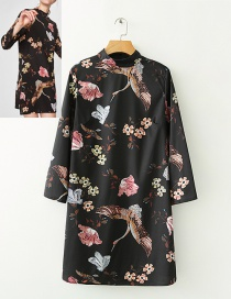 Fashion Black Crane&flowers Decorated Simple Dress