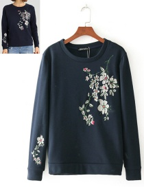 Fashion Navy Embroidery Flower Decorated Round Neckline Hoodie