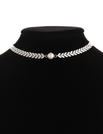 Fashion Silver Color Pearl Decorated V Shape Design Choker