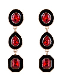Exaggerated Red Geometric Shape Gemstone Decorated Earrings