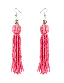 Exaggerated Pink Pure Color Design Tassel Design Beads Earrings