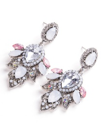 Exaggerated Silver Color Oval Shape Diamond Decorated Earrings
