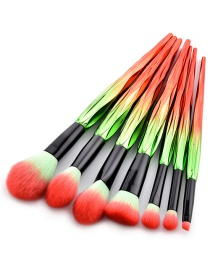 Trendy Red+green Color Matching Decorated Cosmetic Brush(7pcs)