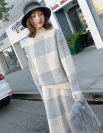 Fashion Gray+white Grid Pattern Decorated Dress Suits