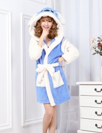 Lovely Blue Stitch Shape Decorated Night-robe