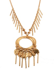 Fashion Gold Color Tassel Pendant Ecorated Pure Color Necklace