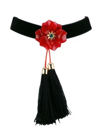 Fashion Red Flower Decorated Tassel Choker