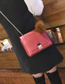 Fashion Red Fuzzy Ball Decorated Shoulder Bag