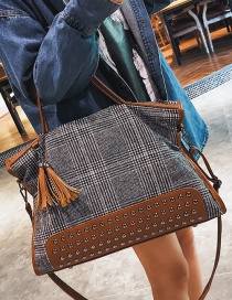 Fashion Coffee Grid Pattern Decorated Shoulder Bag
