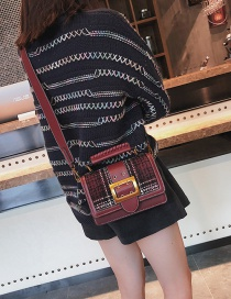 Fashion Claret Red Grid Pattern Decorated Handbang