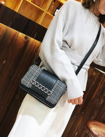 Fashion Black Grid Pattern Decorated Shoulder Bag