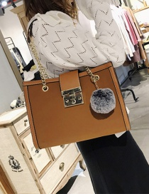Fashion Brown Pom Ball Decorated Shoulder Bag