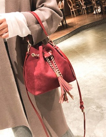 Fashion Red Tassel Decorated Bucket Shape Shoulder Bag