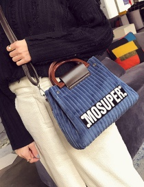 Fashion Blue Letter Pattern Decorated Handbag(2pcs)