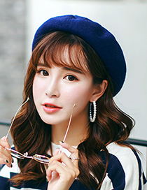 Fashion Sapphire Blue Pure Color Decorated Berets
