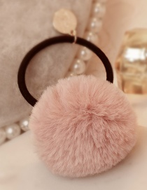 Lovely Pink Fuzzy Ball Decorated Pure Color Hair Band