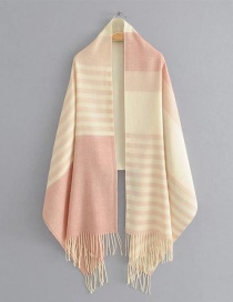 Fashion Light Pink Color-matching Decorated Scarf