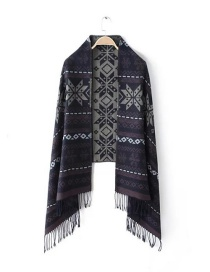 Fashion Navy Snowflake Shape Decorated Scarf
