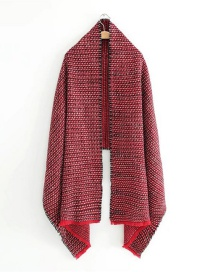 Elegant Red Pure Color Decorated Scarf