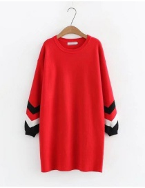 Fashion Red Stripe Pattern Decorated Thicken Long Sweater