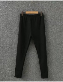 Fashion Black Pure Color Decorated Thicken Jeans