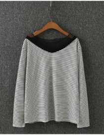 Fashion White Stripe Pattern Decorated V Neckline Shirt