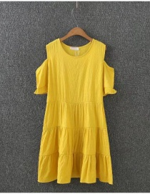 Fashion Yellow Pure Color Decorated A Shape Desing Dress