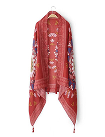 Fashion Red Flower Pattern Decorated Tassel Scarf