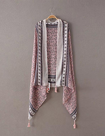 Fashion Pink Flower Pattern Decorated Tassel Scarf