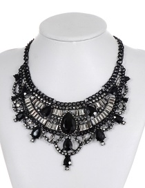 Fashion Black Geometric Shape Diamond Decorated Necklace