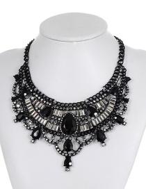 Fashion Black Geometric Shape Diamond Decorated Necklace