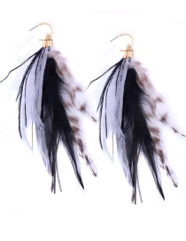 Fashion Black Feather Pendant Decorated Simple Earrings