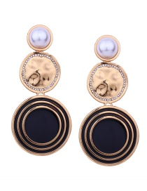 Fashion Black Round Shape Decorated Long Pearl Earrings