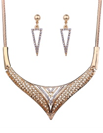 Fashion Gold Color Diamond Decorated Triangle Shape Jewelry Sets