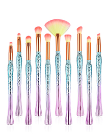 Trendy Yellow+pink Color Mathcing Design Simple Eye Brush(10pcs)